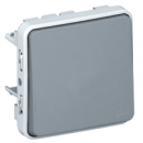 69541 Plexo Серый Мех Выключатель 1-клавишный кнопочный НО+НЗ - контакт IP55