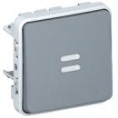 69542 Plexo Серый Мех Выключатель 1-клавишный кнопочный с подсветкой НО-контакт IP55