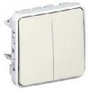 69625 Plexo Белый Мех Переключатель 2-клавишный IP55