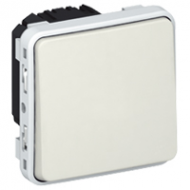 69631 Plexo Белый Мех Выключатель 1-клавишный кнопочный НО+НЗ - контакт IP55