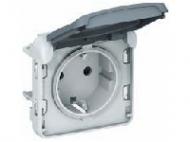 69640 Plexo Белый Мех Розетка с/з с крышкой, безвинтовой зажим IP55