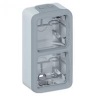 69661 Plexo Серый Монтажная коробка 2-ая для наружного монтажа,вертикальная,IP55