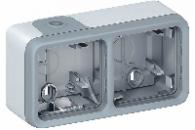 69672 Plexo Серый Монтажная коробка 2-ая для наружного монтажа,горизонтальная,IP55