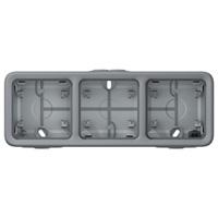 69680 Plexo Серый Монтажная коробка 3-ая для наружного монтажа,горизонтальная, IP55