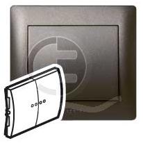 696823 DIY Galea Life Темная Бронза Выключатель 2-х клавишный с подсветкой