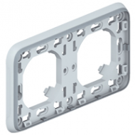 69683 Plexo Серая Рамка 2-ая горизонтальная с суппортом, для внутреннего монтажа IP55
