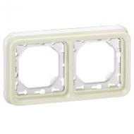 69694 Plexo Белый Рамка 2-ая горизонтальная с суппортом, для внутреннего монтажа IP55