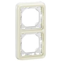 69696 Plexo Белый Рамка 2-ая вертикальная с суппортом, для внутреннего монтажа IP55