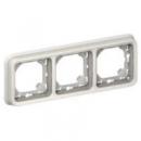 69698 Plexo Белый Рамка 3-ая горизонтальная с суппортом, для внутреннего монтажа IP55