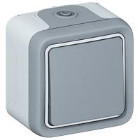 69711 Plexo Серый Переключатель 1-клавишный накладной, 10А, в сборе IP55