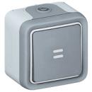 69713 Plexo Серый Переключатель 1-клавишный с подсветкой, накладной, 10А, в сборе IP55