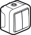 69715 Plexo Серый Переключатель 2-клавишный накладной, 10А, в сборе IP55