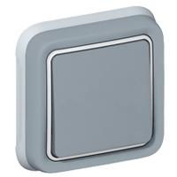 69811 Plexo Серый Переключатель 1-клавишный встраиваемый,в сборе IP55