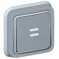 69821 Plexo Серый Выключатель 1-клавишный с/п кнопочный(НО+НЗ- контакт)встраиваемый,в сборе IP55