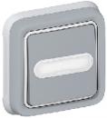 69824 Plexo Серый Выключатель 1-клавишный с/п кнопочный с шильдиком, встраиваемый,в сборе IP55