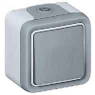 69851 Plexo Белый Переключатель 1-клавишный встраиваемый,в сборе IP55