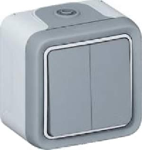 69855 Plexo Белый Переключатель 2-клавишный встраиваемый,в сборе IP55