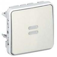 69861 Plexo Белый Выключатель 1-клавишный с/п кнопочный(НО+НЗ- контакт)встраиваемый,в сборе IP55