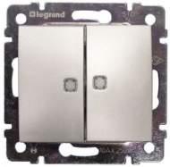 770128 Valena Алюминий Выключатель 2-х клавишный с подсветкой