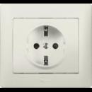 771063 Galea Life Бел Розетка с/з с защитными шторками (мех. + лиц.панель)