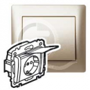 771464 Galea Life Титан Розетка с/з с защитными шторками с крышкой (мех. + лиц.панель)