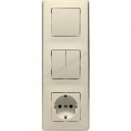 773744 Cariva Крем Блок Выключатель 1-клав + Выключатель 2-х клав + Розетка с/з