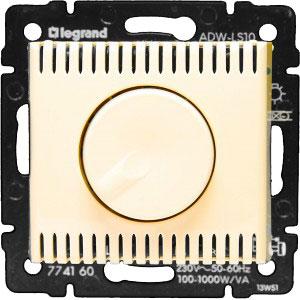 774160 Valena Крем Светорегулятор поворотный 100-1000W для л/н, галог. ламп с обмоточным т-ром