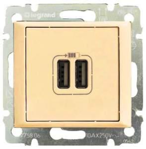 774170 Valena Крем Розетка 2-ая USB