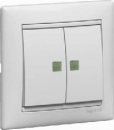 774212 Valena Бел Переключатель 2-х клавишный с подсветкой