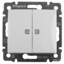 774213 Valena Бел Выключатель 2-х клавишный с индикацией на каждую клавишу