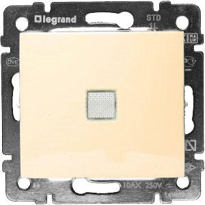 774310 Valena Крем Выключатель 1-клавишный с подсветкой