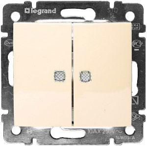 774328 Valena Крем Выключатель 2-клавишный с подсветкой