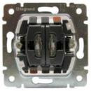 775608 PRO 21 Мех Переключатель 2-х клавишный с подсветкой, 2 зеленые лампы 0,5 мА