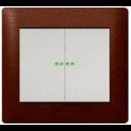 775869 PRO 21 Мех Выключатель 2-х клавишный с подсветкой, 1 оранжевая лампа 1,0 мА