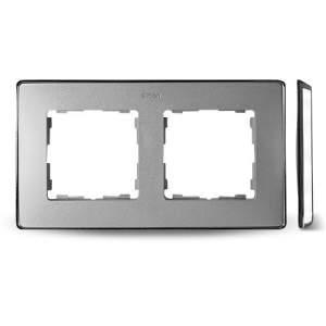 8201620-093 82 Detail Рамка, 2 поста, холодн. алюминий, основание хром