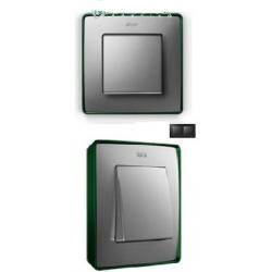 8201620-253 82 Detail Рамка, 2 поста, холодн. алюминий, зеленое основание