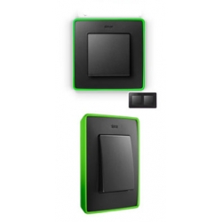 8201620-260 82 Detail Рамка, 2 поста, графит, неоново-зеленое основание