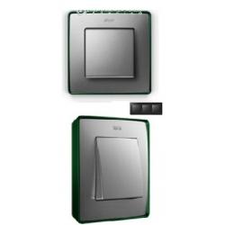 8201630-253 82 Detail Рамка, 3 поста, холодн. алюминий, зеленое основание