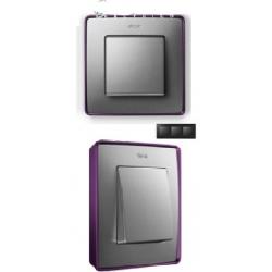8201630-254 82 Detail Рамка, 3 поста, холодн. алюминий, фиолетовое основание