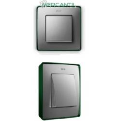 8201640-253 82 Detail Рамка, 4 поста, холодн. алюминий, зеленое основание