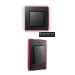 8201640-261 82 Detail Рамка, 4 поста, графит, неоново-розовое основание