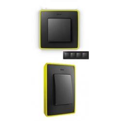8201640-262 82 Detail Рамка, 4 поста, графит, неоново-желтое основание
