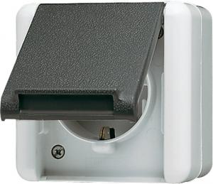 820W WG800 Розетка 2Р+З, н/у, серый IP44