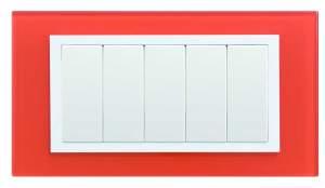 82657-65 82 Centr. Рамка с суппортом на 5 узких модулей, оранжевый - белый (стекло)