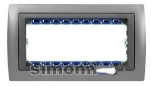 82954-33 82 Centr. Рамка с суппортом на 5 узких модулей, алюминий - алюминий