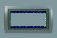 82615-63 82 Centr. Алюминий Рамка узкая с суппортом на 1 узкий модуль для скрытого монтажа