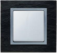82987-63 82 Centr. Сланец - алюминий(композит) Рамка с суппортом на 8 узких модулей