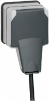 """90465 Plexo Серый Розетка с/з с крышкой с системой """"lock 66"""",накладная,IP66"""