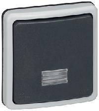 90480 Plexo Серый Переключатель 1-клавишный,встраиваемый,в сборе,10А, IP66
