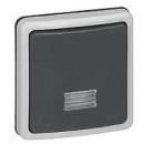 90482 Plexo Серый Выключатель 1-клавишный кнопочный с/п,встраиваемый,в сборе,10А, IP66